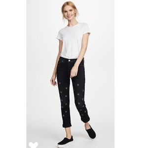 Hudson Crop Relaxed Straight star Studded Jeans